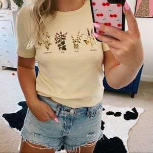 Urban outfitters yellow floral graphic tee